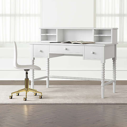Kids Jenny Lind White Spindle Desk and Hutch