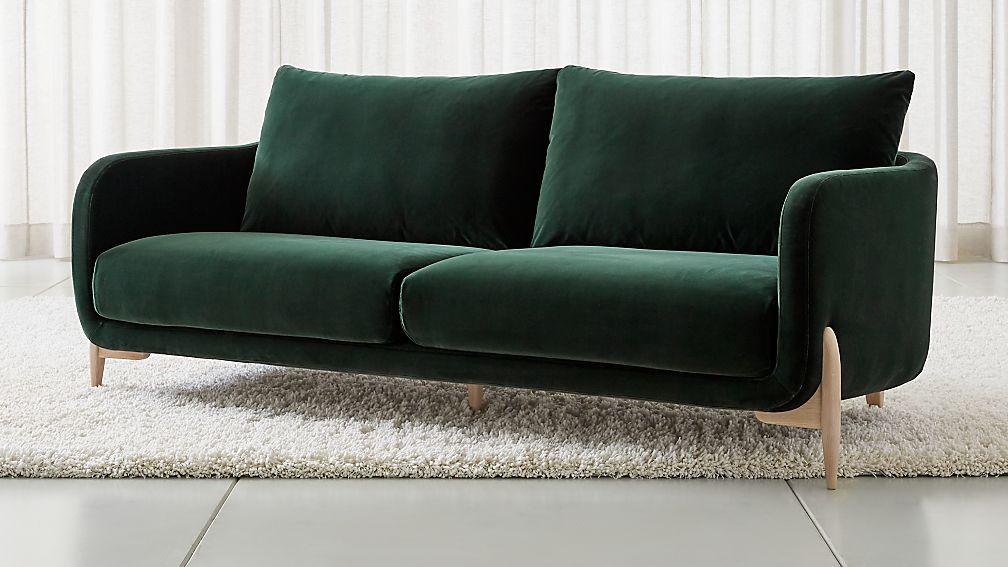 Jenny Green Velvet Sofa Reviews Crate And Barrel