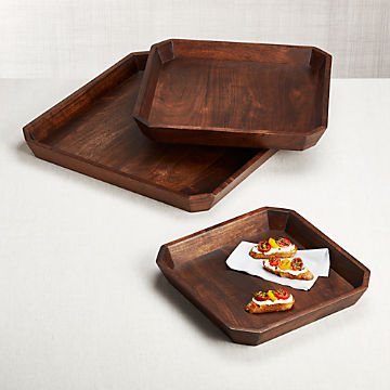 Serving Trays Wooden Melamine Metal Crate And Barrel