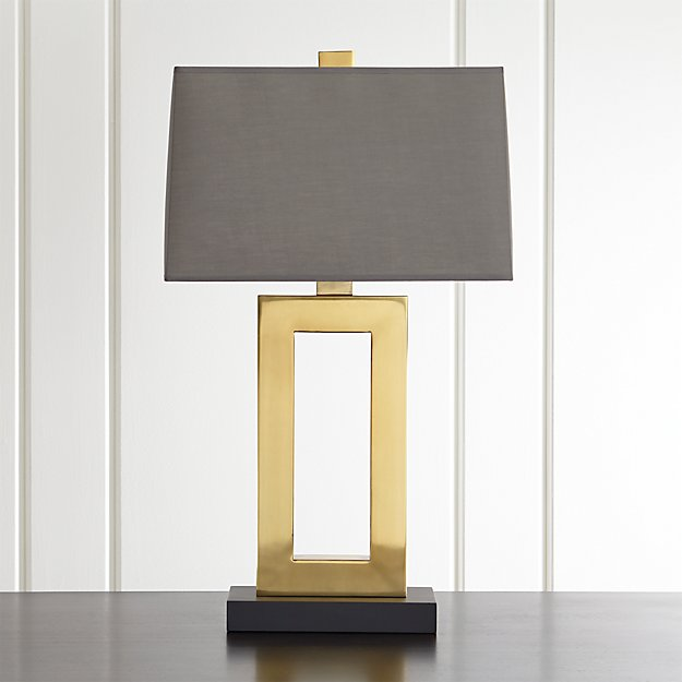 Duncan Brass Table Lamp With Grey Shade Crate And Barrel