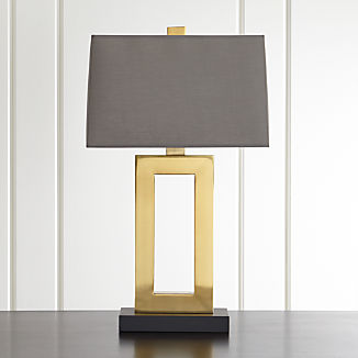 08314e6e943e Duncan Brass Table Lamp with Grey Shade