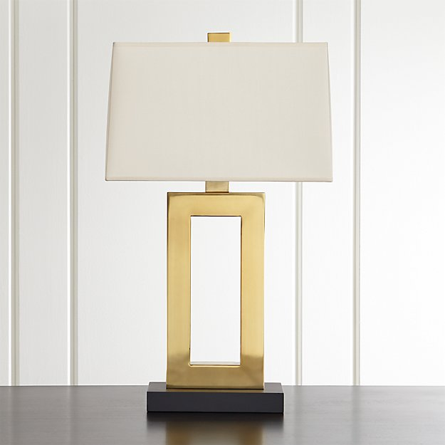 Duncan Brass Table Lamp with Ivory Shade