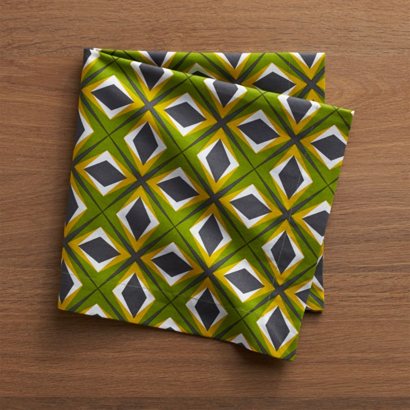 Our whimsical Portuguese cotton napkin with a bright, graphic diamond design in tonal greens, charcoal and white references both the 1970s and the classic court jester's costume.<br /><br /><NEWTAG/><ul><li>100% cotton</li><li>Do not bleach</li><li>Machine wash cold, tumble dry; warm iron as needed</li><li>Made in Portugal</li></ul>