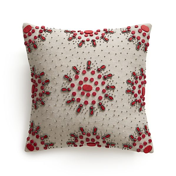 """Jewel Berry 12"""" Pillow with Down-Alternative Insert."""
