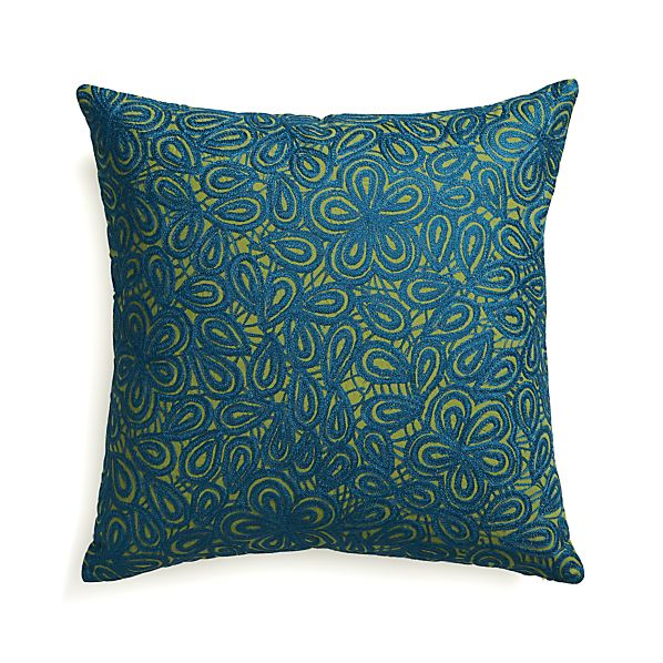 "Julian Blue 20"" Pillow with Feather Insert"