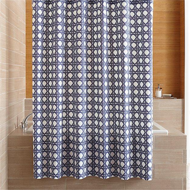 Julien Blue Print Shower Curtain - Image 1 of 3