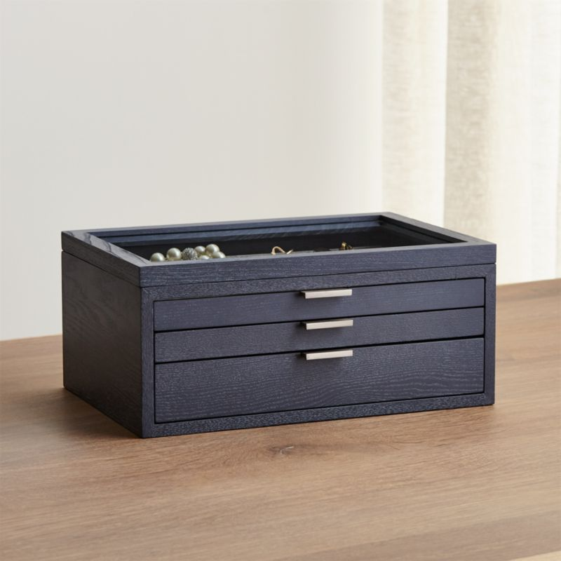 Juliette Glass Top Jewelry Box + Reviews   Crate and Barrel
