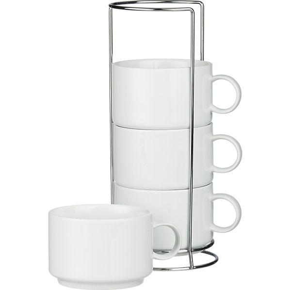 Set of 4 Jumbo Stacking Mugs with Metal Rack