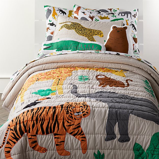 Service Animal Registry >> Applique Jungle Animal Bedding | Crate and Barrel
