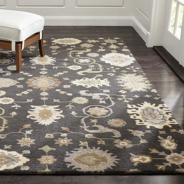 Juno Grey Patterned Wool Rug