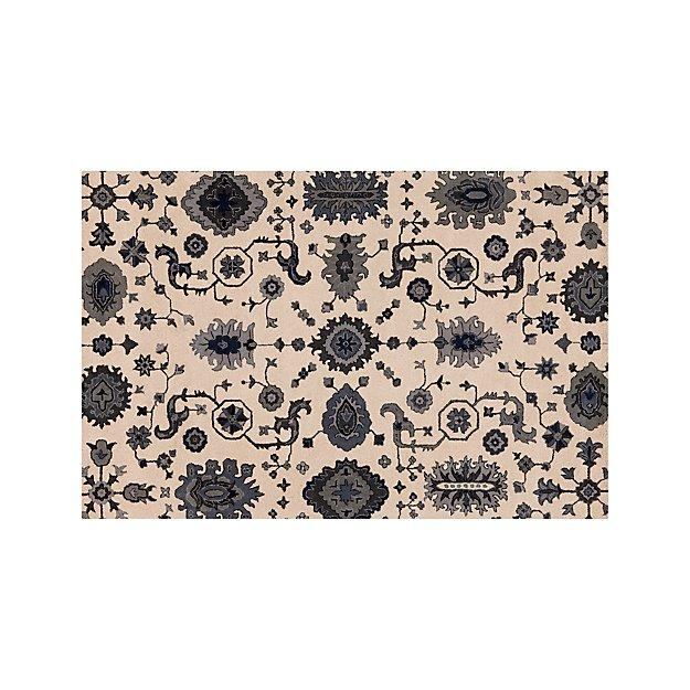Juno Blue Patterned Wool Rug 6'x9' - Image 1 of 4