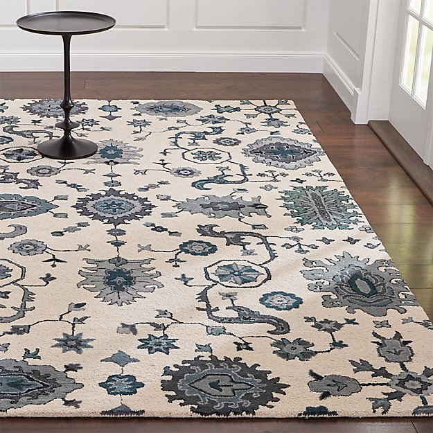 Beautiful Juno Blue Patterned Wool Rug | Crate and Barrel HQ68