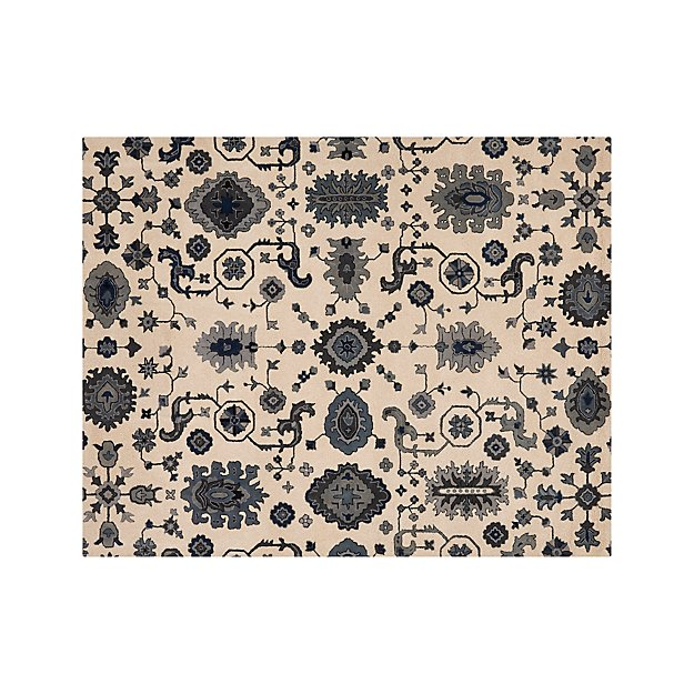 Juno Blue Patterned Wool Rug 8 X10 Crate And Barrel