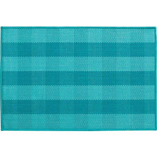 Jute Turquoise Check Rug