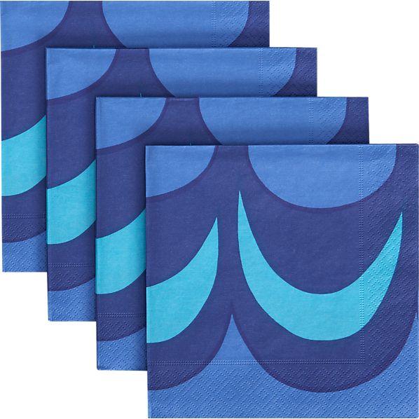 Set of 20 Marimekko Kaivo Blue Paper Luncheon Napkins