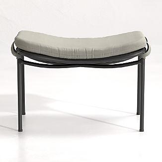 Kali Outdoor Aluminum Ottoman with Cushion