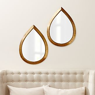 Kasbah Teardrop Brass Wall Mirrors, Set of 2