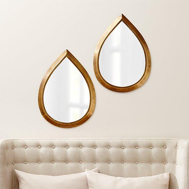 Kasbah Teardrop Brass Wall Mirrors, Set of 2 - Image 1 of 2