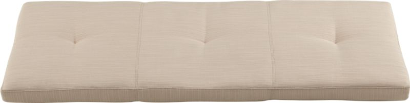Kavari bench cushion is solid poly in neutral sand with stitch and tufting detail.<br /><br /><NEWTAG/><ul><li>100% polyester with polyfoam and fiber fill; spot clean</li><li>Made in Taiwan</li></ul>