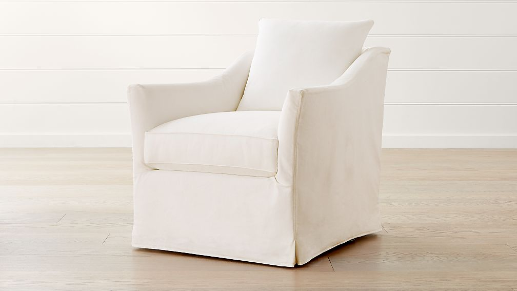 Keely Slipcovered Swivel Chair - Image 1 of 5