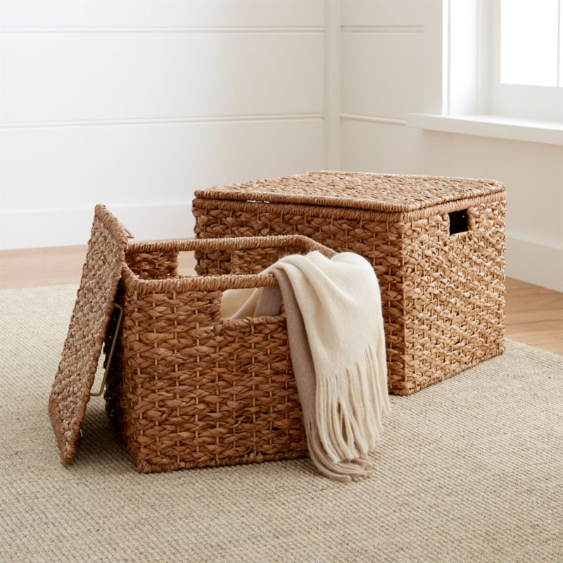 & Kelby Square Lidded Baskets | Crate and Barrel