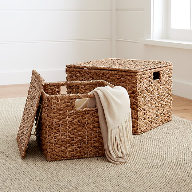 Kelby Square Lidded Baskets Crate And Barrel