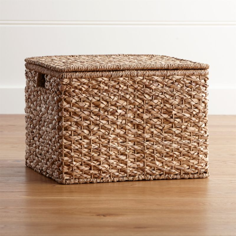 Kelby Large Square Lidded Basket Reviews Crate And Barrel