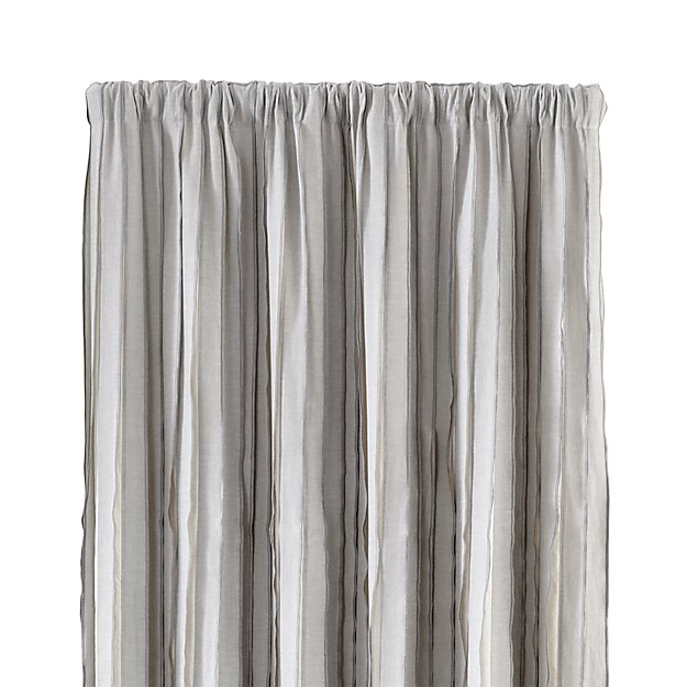 kendal 50 x96 grey striped curtain panel crate and barrel