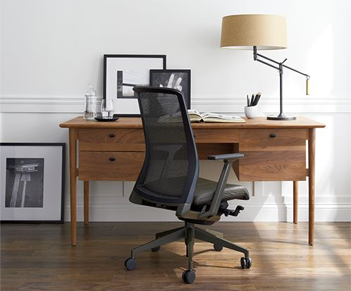 kendall wooden desk with black office desk chair