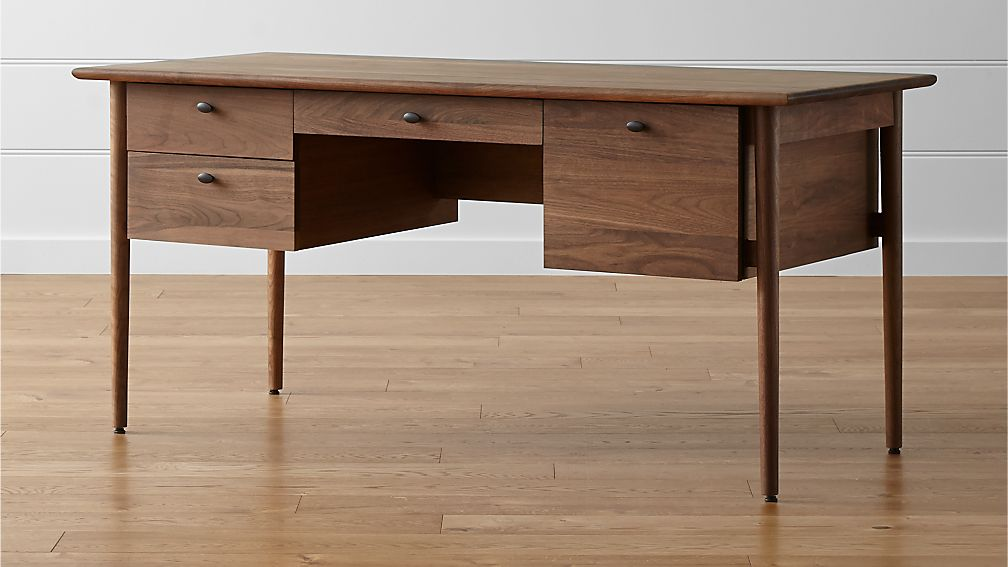 Kendall walnut desk crate and barrel - Walnut office desk ...