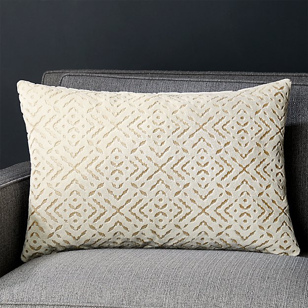 Kennedy Ivory 22x15 Velvet Pillow with Down-Alternative Insert Crate and Barrel