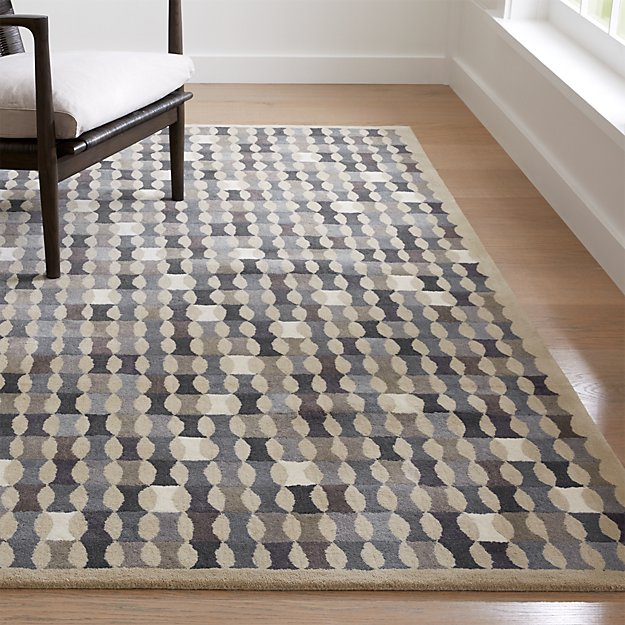Kepler indigo wool geometric rug crate and barrel for Geometric print area rugs