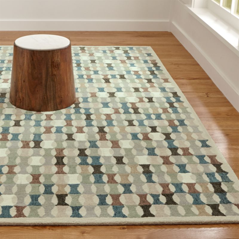 Kepler Teal Wool Geometric Rug
