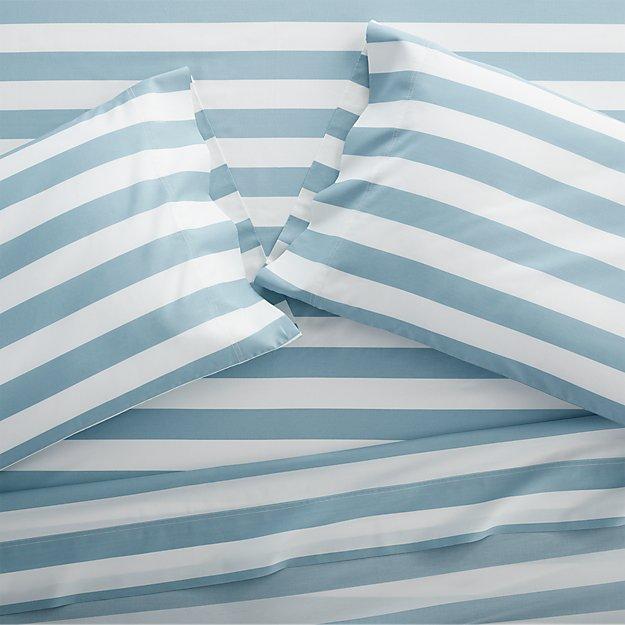 Marimekko Kesahelle Teal Stripe Sheets and Pillow Cases