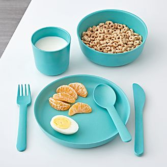 EKOBO Aqua Children\u0027s Dinner Set & Kids Placemats Plates \u0026 Utensils   Crate and Barrel