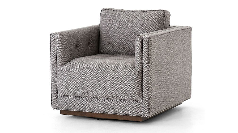 Wylie Grey Tufted Swivel Chair Reviews Crate And Barrel