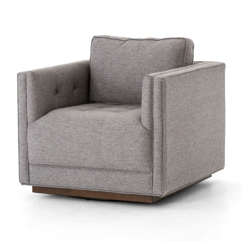 Kiera Grey Tufted Swivel Chair Reviews Crate And Barrel