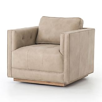 Kiera Natural Leather Swivel Chair