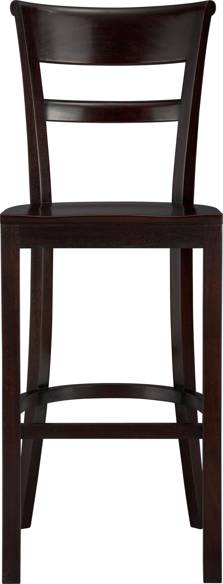 """Solid mahogany seating pulls up to bar with ease and elegance. Barstool has graceful rolled back and comfortable contours to the seat. A soft-sheen lacquer adds a finishing detail.<br /><br /><NEWTAG/><ul><li>FSC-certified solid mahogany</li><li>Clear protective lacquer finish</li><li>30""""H seat sized for bars</li><li>Made in Indonesia</li></ul>"""