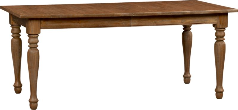 """Classic lines from the beaded apron to the turned legs let the beauty and integrity of richly grained solid sungkai wood shine in this rectangular dining table. A larger 21"""" extension leaf extends the group from eight to a party of 10.<br /><br /><NEWTAG/><ul><li>Solid tropical sungkai wood</li><li>Grey wash, clear protective lacquer finish</li><li>Seats eight; 10 with 21"""" leaf</li><li>Made in Indonesia</li></ul>"""