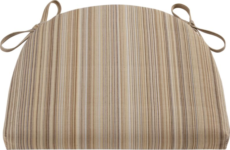 Tie on an extra layer of comfort custom fitted to our Kipling and Vintner side chairs and barstools. A cushy polyfill insert is surrounded by a 100% cotton cover in latte stripe.<br /><br /><NEWTAG/><ul><li>100% cotton cover</li><li>High density polyester foam and fill</li><li>Tie attachments, zipper closure</li><li>Machine wash the removable cover</li><li>Made in India</li></ul>