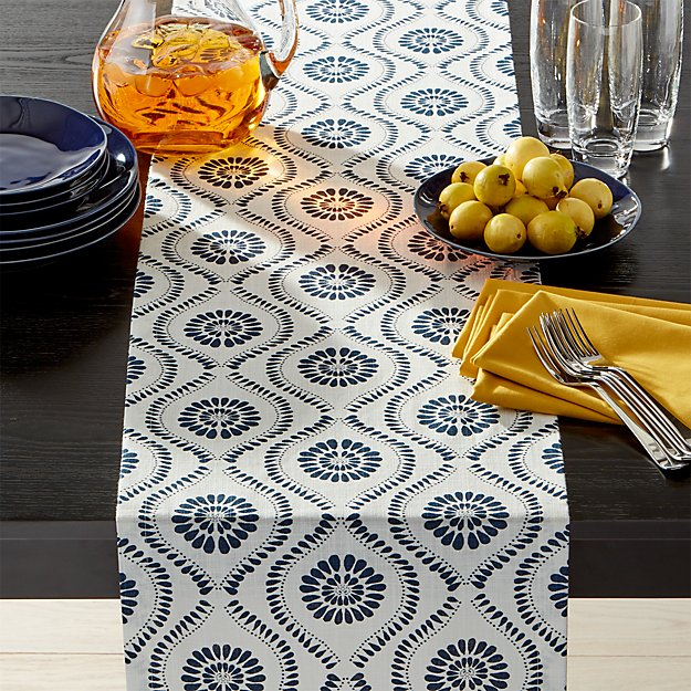 Kiran Indigo Medallion Table Runner 90 Reviews Crate And Barrel