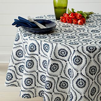 "Kiran Indigo 90"" Round Tablecloth"