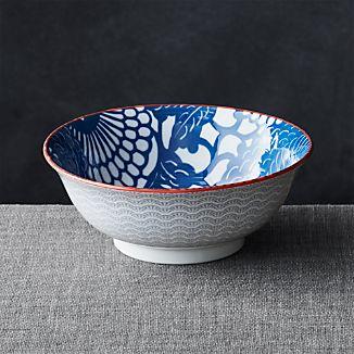 """Kiso Blue 8"""" Noodle Bowl"""