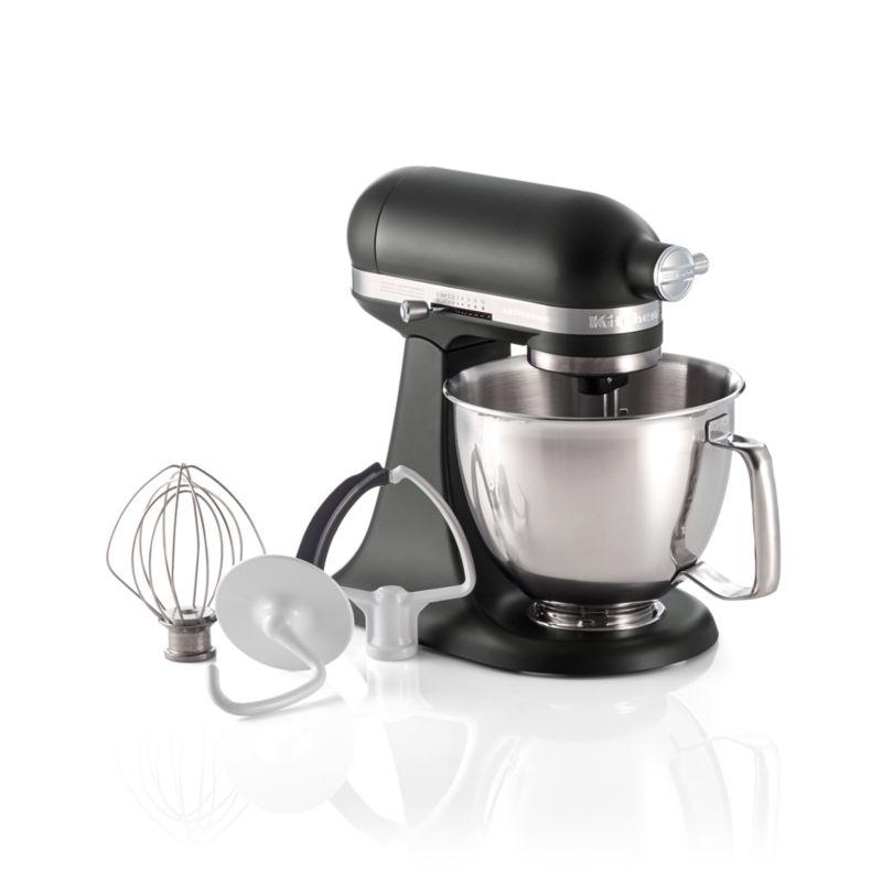 Kitchenaid Artisan Matte Black Mini Mixer With Flex Edge Beater Reviews Crate And Barrel