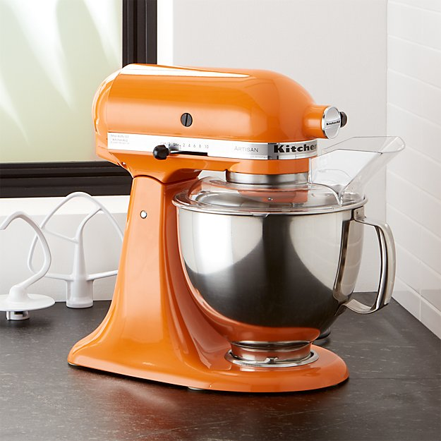 Kitchenaid artisan tangerine stand mixer crate and barrel for Kitchenaid f series accessories