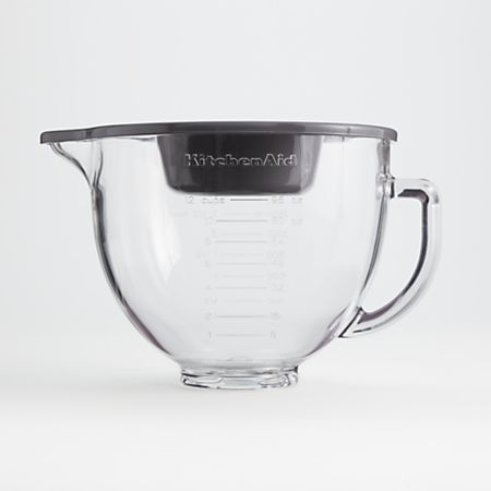 KitchenAid 5-Quart Tilt-Head Glass Bowl with Measurement Markings and Lid |  Crate and Barrel