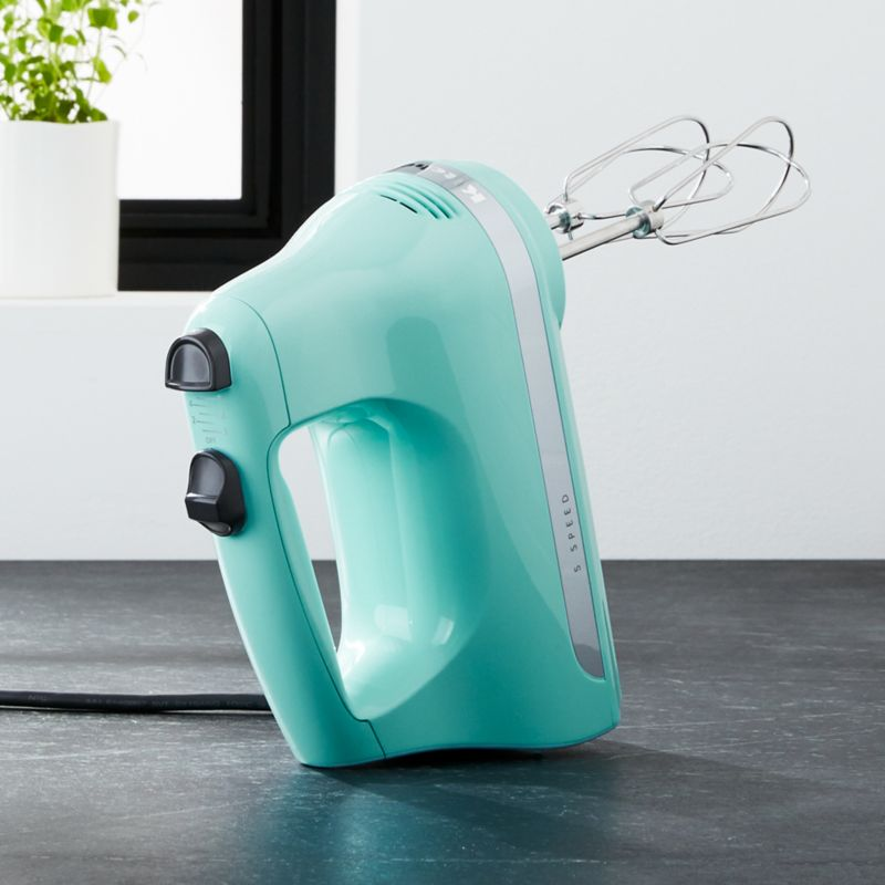 Kitchenaid ice blue 5 speed hand mixer crate and barrel for Kitchenaid hand mixer