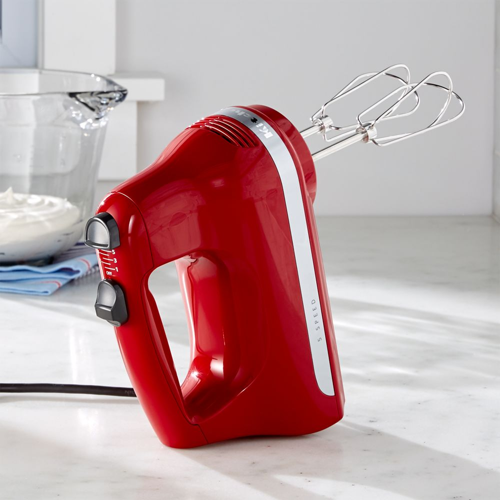 KitchenAid ® Empire Red 5-Speed Hand Mixer - Crate and Barrel