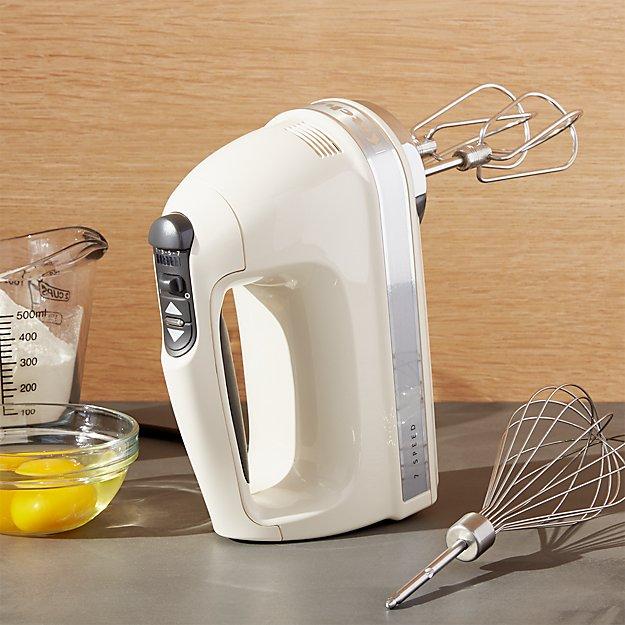 Kitchenaid ® Almond Cream 7-Speed Hand Mixer | Crate And Barrel